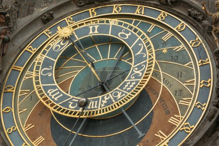 Photo for Photo shows detailed view of Old Town Hall Tower Prague astronomical clock during a day. - Royalty Free Image