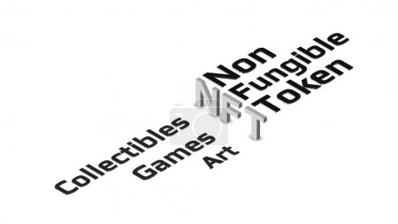 Photo for NFT nonfungible token isometric text on light background. New class of coins. Pay for unique collectibles in games or art. Design element. Vector illustration. - Royalty Free Image