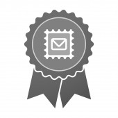 Isolated award badge with  a mail stamp sign