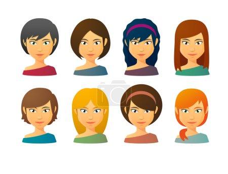 Female avatars  with various hair styles