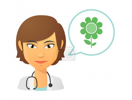 Female doctor with a flower