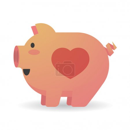 Cartoon pig with a heart