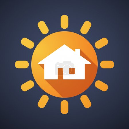 Illustration for Illustration of a sun icon with a house - Royalty Free Image