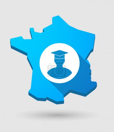 long shadow France map icon with a student avatar