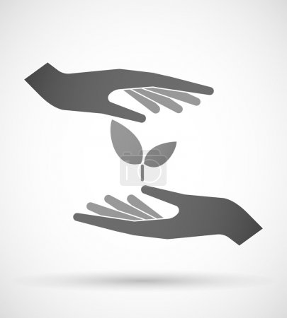 Illustration for Two hands protecting or giving a plant - Royalty Free Image