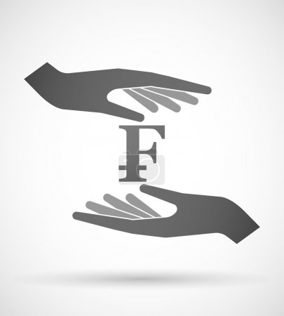 Illustration for Two hands protecting or giving a currency sign - Royalty Free Image