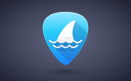 Blue guitar pick icon with a shark fin