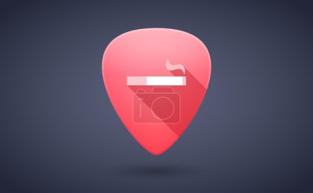 Red guitar pick icon with a cigarette