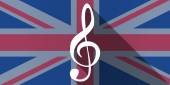 Illustration of an UK flag icon with a g clef