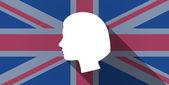 United Kingdom flag icon with a female head