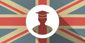 Illustration of a UK flag icon with a student