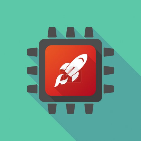 Illustration for Illustration of a CPU icon with a rocket - Royalty Free Image
