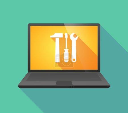 Illustration pour Illustration d'une icône d'ordinateur portable avec un ensemble d'outils - image libre de droit