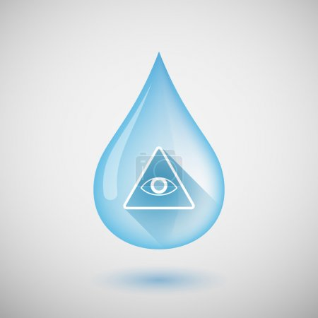 Long shadow water drop icon with an all seeing eye