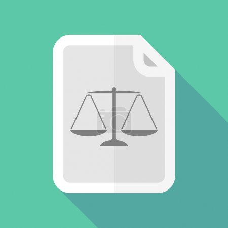 Long shadow document icon with a justice weight scale sign
