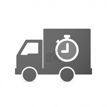 Isolated delivery truck icon with a timer
