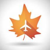 Autumn leaf icon with a plane