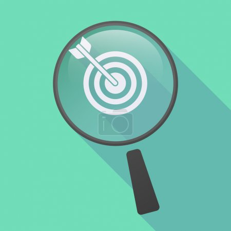 Long shadow magnifier icon with a dart board