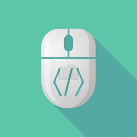 Wireless long shadow mouse icon with a code sign