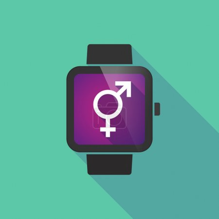 Smart watch vector icon with a transgender symbol