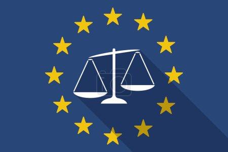Illustration pour Illustration d'un drapeau ombre long de l'Union européenne avec une échelle de poids déséquilibrée - image libre de droit