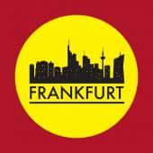 Abstract Frankfurt skyline with various landmarks