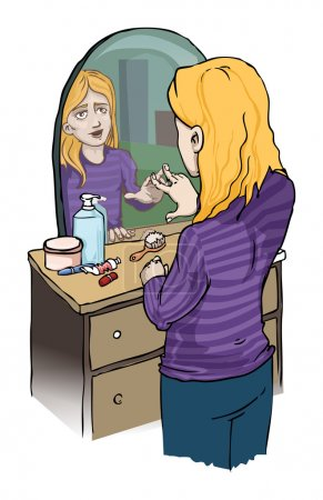 Girl looking in a mirror, vector illustration...