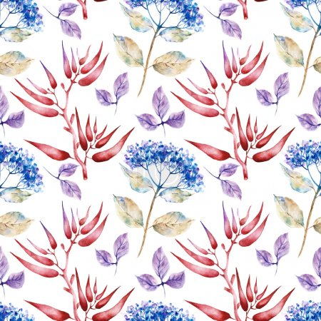Seamless pattern with herbarium flowers and plants. Watercolor illustration.