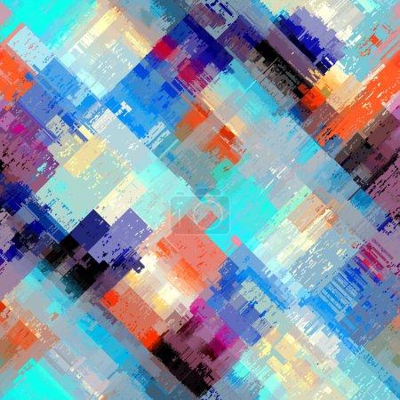 Illustration pour Motif abstrait sans couture avec imitation d'une texture glitch grunge. Modèle en diagonale. Image vectorielle. - image libre de droit