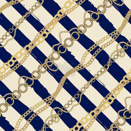 Diagonal plaid in nautical style of the strips and chains and ro