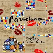 Imitation of newspaper Barcelona with mosaics