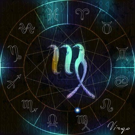 Illustration for Magic circle with Virgo astrological symbol in center - Royalty Free Image