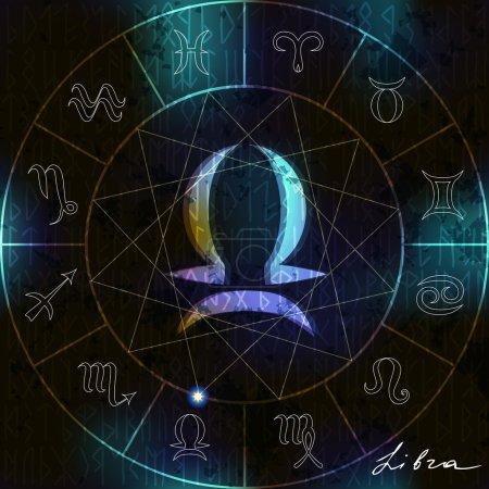 Illustration for Magic circle with Libra astrological symbol in center - Royalty Free Image