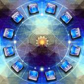 Circle with signs of zodiac on icons