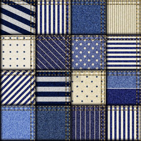 Patchwork of denim fabric.