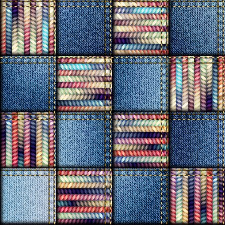Patchwork quilt from scraps of denim and knit