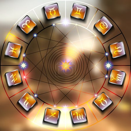 Illustration for Magic circle with zodiacs sign on blurred photo of city - Royalty Free Image