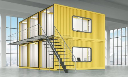 A block of six yellow cabins with offices inside, ladder leading to the top one. Panoramic window at the background. Side view. Concept of a new start. 3D rendering