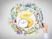 A big golden dollar sign and clock in the center, a hand drawing different coloured graphs and pictures around it, business, success, strategy written around.