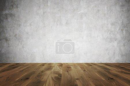 Photo pour Sol en bois brun, mur en béton. Vue de face. Concept de contexte. rendu 3D . - image libre de droit