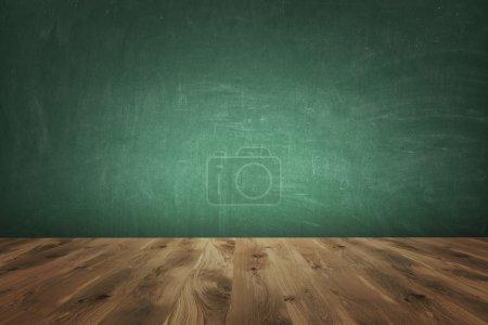 Photo pour Sol en bois brun, mur vert. Vue de face. Concept de contexte. rendu 3D . - image libre de droit