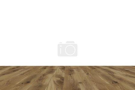 Photo pour Sol en bois brun, mur blanc. Vue de face. Concept de contexte. rendu 3D . - image libre de droit