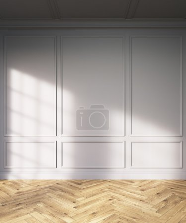 Photo for White wall and parquet. Concept of interior. Shade. Mock up. 3D render - Royalty Free Image