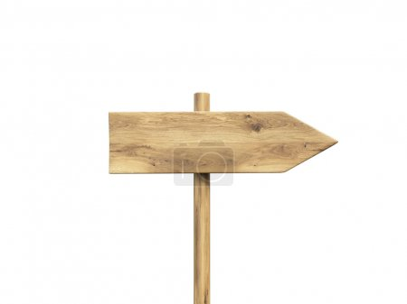 Photo pour Wooden direction sign. Isolated. Concept of information. Mock up. 3D render - image libre de droit