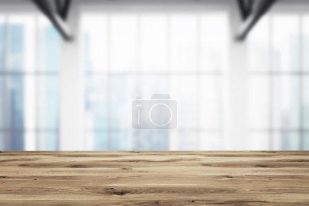 Photo pour Planche en bois, bureau flou à l'arrière-plan. Concept de décoration. rendu 3D - image libre de droit