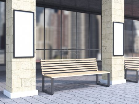 Bench under portico between columns, blank posters on them. City view. Concept of bus stop. Mock up. 3D rendering