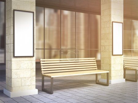 Bench between columns