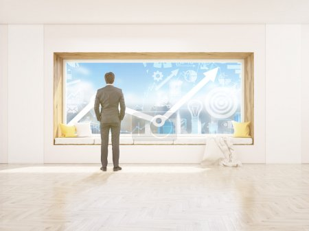 Businessman window seat and chart