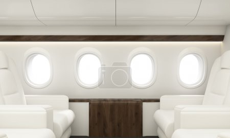 Four portholes in white airplane interior. 3D Rendering