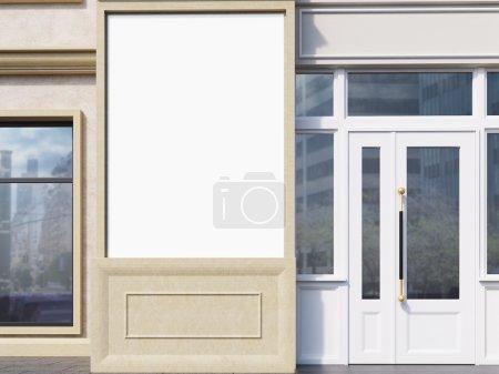 Blank poster on exterior closeup